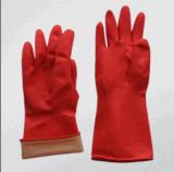 Красная перчатка латекса домочадца с подкладкой стаи
