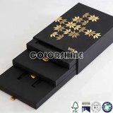 Rectángulo de regalo de papel negro del embalaje del cajón de la mejora