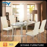 Tabella di vetro quadrata pranzante moderna dei piedini del metallo della mobilia