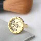 Joyería de la manera 18k oro plateó el anillo grabado personalizado de los pares