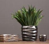 Vaso di fiore di ceramica della glassa del metallo per la decorazione domestica