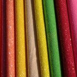 Couro colorido do plutônio do Glitter para a sapata (E6058)