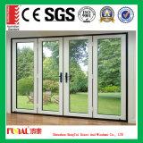 Puerta de aluminio modificada para requisitos particulares vidrio doble del marco de la talla