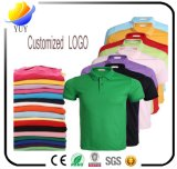 T-shirts de coton et couleur personnalisée de logo avec la chemise de collier de Turndown