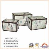 木ファブリックプリント房状の記憶のトランクの箱、居間のための収納箱