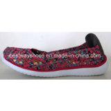 O Weave das sapatas das mulheres confortáveis dos calçados calç sapatas ocasionais das sapatas do Slip-on