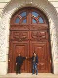 Porta de madeira em teca maciça porta de entrada de entrada frontal para villa (XS1-026)