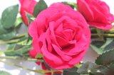 Fiori falsi rossi di seta dei fiori artificiali della Rosa per la decorazione domestica di cerimonia nuziale