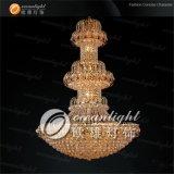 La luz clásica grande de la lámpara cristalina tradicional de oro se aplicó en la boda o el hotel Ow562
