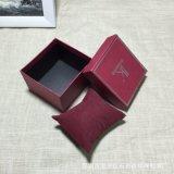Caixa de relógio rígida dura da qualidade superior com descanso e carimbo quente prateado