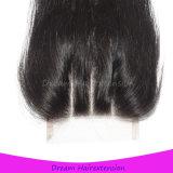 Brasilianisches Jungfrau-Haar-gerades Haar mit 3 Teil Spitze-Schliessen