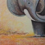 Het Olieverfschilderij van de Olifant van de Baby van het Wild van het beeldverhaal