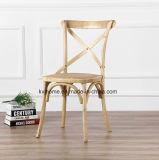 Natürlicher Birken-Holz-Kreuz-Rückseiten-Stuhl für Gaststätte