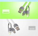 Datos coloridos del cable del USB del cargador del teléfono de los colores multi que cargan sinc. 2 en 1