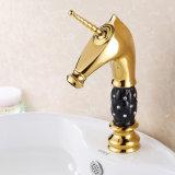 Faucet da bacia do banho da pintura do ouro de Flg com corpo de cristal cerâmico