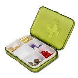 Mini organizador portátil da caixa da caixa do comprimido da medicina da droga de 6 entalhes