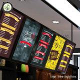 Cadre léger mince s'arrêtant de publicité lumineux de fil de panneau de menu de DEL