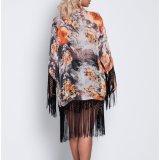 Form-Frauen-Freizeit-beiläufiges gedrucktes Troddel-Kap-Kleid