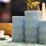 Candela senza fiamma intagliata blu della colonna LED del fiore per le cerimonie nuziali e le decorazioni