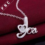 Het zilver plateerde 18 '' bedekt Kubiek Zircon Hart '' u de Halsband van de Tegenhanger ''