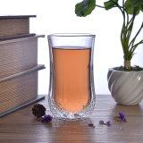Taza de café de cristal de la pared doble, taza doble del vidrio de la pared