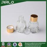 las mini botellas de perfume de cristal de lujo 5ml moldearon las pequeñas botellas de cristal de la fragancia con el casquillo del oro