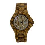 Da sandália de madeira do teste padrão do leopardo do fecho do logotipo de Customzied relógio de madeira