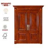 Античная деревянная высеканная дверь двойного переднего входа внешняя (GSP1-026)