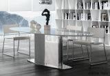 現代イタリアの大理石の楕円形のダイニングテーブルのステンレス鋼ベース(NK-DT237-2)
