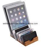 Houten het Laden van het bamboe Tribune, 6 in 1 Houder van de Tribune van het Bamboe voor iPhone/iPad Mini/iPad & Al PC van de Tablet & de Mobiele Telefoon