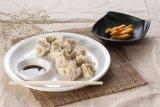 ソース皿(WT884)が付いているメラミンゆで団子の皿か版
