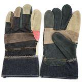 Luvas industriais do trabalho da segurança da mão do couro do couro da mobília do arco-íris da venda (310081)