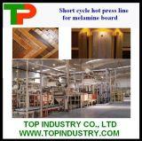 Prensa corta del ciclo para el panel de madera que graba con el dispositivo sincronizado
