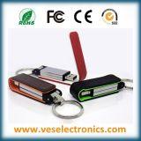Memoria Flash di cuoio del USB dell'anello portachiavi