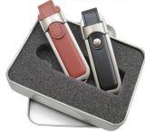 Mecanismo impulsor promocional del flash del USB del cuero de la insignia