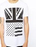 Breve disegno 100% della camicia di T di stampa del manicotto del cotone