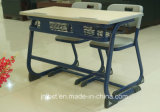 Studendの熱い販売のプラスチック二重机および椅子セット