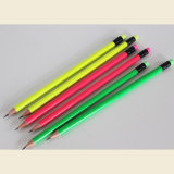 HB de crayons de néon de qualité avec l'extrémité de gomme à effacer, crayons en bois de forme ronde