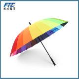 24 doubles de traitement de parapluie superbe d'arc-en-ciel d'os longs protégeant du vent