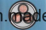 6.35/11 (12) kilovoltios U/G cablegrafían 11kv, XLPE, 3cores, 185 Sq. IEC de cobre 60502 del conductor BS-6622 del milímetro