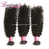 Cabelo Curly de Remy do Virgin Kinky brasileiro humano livre do produto químico