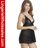 De sexy Zwarte Lingerie van de Nachthemden van Strappy Babydoll van de Bustehouder van het Kant en van het Netwerk