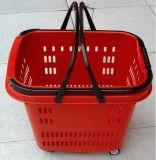 Panier en plastique de luxe de supermarché avec des roues