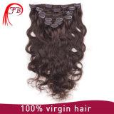 毛の拡張の卸し売りRemyのブラジルの人間の毛髪クリップ
