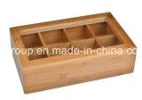 Коробка твердой древесины с ясным окном и коробкой чая 12 отсеков деревянной