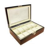 Cadre de montre en bois de luxe de empaquetage de 10 de fentes cadres de montre en bois