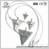 Ancla galvanizada de la tierra de la punta de flecha de 6 pulgadas con el cable