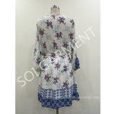 Платье печати втулки Raglan женщин шифоновое с поясом (DR-14)