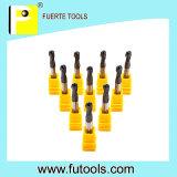 Flauta sólida de Endmills 2 del carburo de tungsteno para moler de cobre