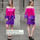 Напечатанное флористическое платье с -Плечом для одежд женщины